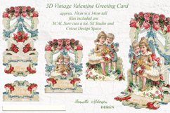 Pop out 3D Vintage Valentine print cut and foil sketch greet Product Image 1