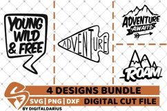 4x Adventure Quote Designs Bundle svg, Camping svg, Roam svg Product Image 1