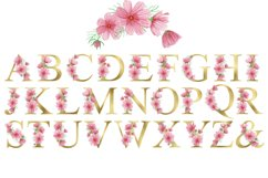 Gold Floral Alphabet Pink Flowers Watercolor Clipart Product Image 2