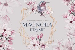 Watercolor Floral Rose Gold Frame Birds Geometric Frame PNG Product Image 1