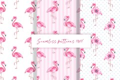 Flamingo. Watercolor patterns Product Image 1
