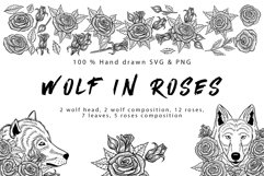 Wolf in roses set 100 hand-drawn Product Image 1