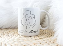 Mothers day card printable, Mom and Baby, Line art Product Image 2