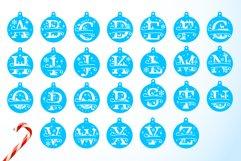 Christmas Split Letters - Christmas Ornament SVG - Monogram Product Image 4