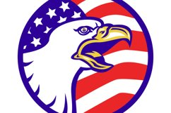 American Bald eagle screaming with USA flag Product Image 1