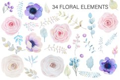 Roses and anemones watercolor floral Product Image 3