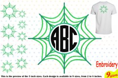 Spider Web Circle Embroidery Design Machine Instant Download Commercial Use digital Outline Frame Halloween Spiderweb 208b Product Image 1
