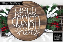 Wood Round Christmas Mockup with Buffalo and Snow Accents Product Image 1