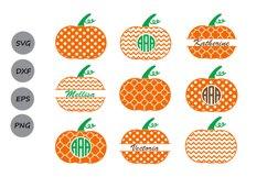 Thanksgiving Pumpkin Monogram SVG, Thanksgiving svg Polka. Product Image 1