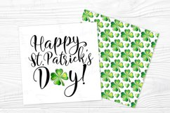 St. Patrick's Day Watercolor Shamrock card design JPG Product Image 1