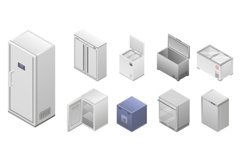 Freezer icon set, isometric style Product Image 1