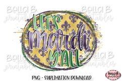Mardi Gras Sublimation Design, Lets Mardi Y'all Product Image 1