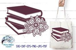 Floral Book Stack SVG   Books SVG Cut File Product Image 1