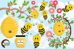 Bumble bee cliparts, Honey bee cliparts, graphics, illustrations AMB-1053 Product Image 5