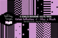16 seamless Digital Papers - Lilac and Black - HC160 Product Image 1
