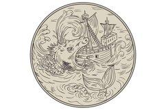 Ancient Sea Monster Attacking Sailing Ship Circle Drawing Product Image 1