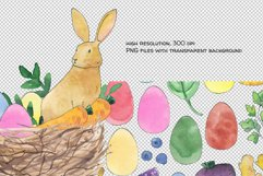 watercolor easter bunny png, rabbit easter basket, bird nest Product Image 3