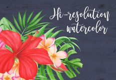 Watercolor Tropical Flowers and Leaves Compositions Product Image 3