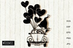 Valentines heart truck Svg Gnomes Clipart i love you Cutfile Product Image 1