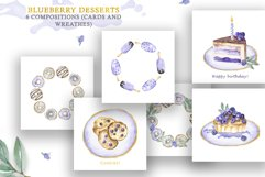 Watercolor collection of Blueberry Desserts Product Image 4