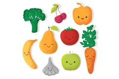 Cartoon funny fruits and vegetables vector characters Product Image 1