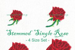 Rose with Stem Machine Embroidery Design Set of 4 Sizes Product Image 1