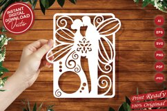 Papercut Wedding Couple with Butterfly Wings, Invitation Art Product Image 1