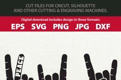Peace Love Rock Hand Gesture SVG & Clipart Bundle Product Image 2