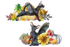 Black cats with wings and pumpkins Product Image 2