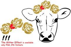 Cow with Flowers SVG, Bandanna Flower , Heifer SVG -74SV Product Image 3