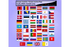 Europe countries / Europe country Flags / country flag / 300DPI / Vector flags / flag clipart and silhouette / printable flag/ digital flag Product Image 3