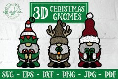 3D Christmas Gnome Bundle, Layered Gnome, 3D Gnome SVG, DXF Product Image 1
