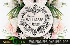 Valentines SVG - Flower Heart Family Monogram Frame Product Image 1