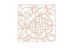 Redwork Rose Quilting Set of 4 Machine Embroidery Product Image 5
