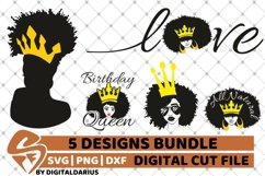 5x Black Woman Bundle SVG, Afro Lady svg, file,Lady in Crown Product Image 1