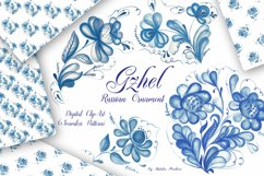 Gzhel watercolor clipart Product Image 1