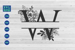 Split monogram letter W Svg, Alphabet floral initial logo W Product Image 1