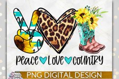 Peace Love Country PNG Sublimation Design Product Image 1