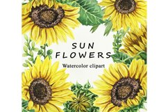 Sunflower Watercolor clipart. Separate elements Product Image 1