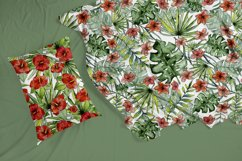 Watercolor tropical leaves & flowers seamless pattern. Product Image 6
