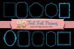 Teal Frames Clipart Set of 20 Product Image 1
