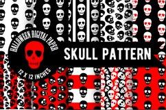Skull pattern.Halloween Digital Paper,Skull wallpaper,PNG Product Image 1