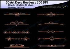 Art deco / art deco headers / art deco header clipart / art deco digital clipart / art deco frames / High Quality / template headers Product Image 2