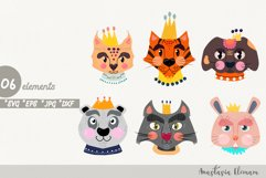 Royal animals clipart vector cartoon characters svg jpg dxf Product Image 1