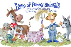 Farm animals watercolor Clipart. Product Image 1