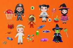 Cute Halloween Girls in Costumes Horror Party Clip Art Product Image 5