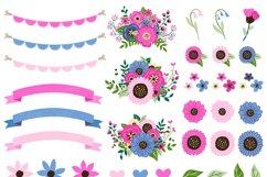 Pink and Navy Mason Jar Wedding Clipart Product Image 2