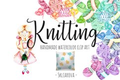 Knitting Watercolor Clip art Product Image 1