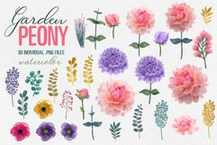 Peony Floral Clip Art set of 30 PNG files pink purple flower Product Image 2