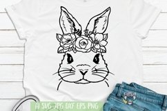 Bunny svg, Easter svg, Floral Wreath svg, Cricut Cut Files Product Image 1